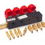 Купить форсунки Valtek type 30, 4 цилиндра, 3 Ом, с штуцерами в коллектор c жикл